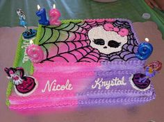 Monster High cake. The air brushing, spider web and skull are pretty awesome!