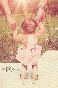 Baby girl in mommy's heels, Daughter in Heels, Baby girl photography l © Allure… 6 Month Baby Picture Ideas, Baby Girl Pictures, Newborn Pictures, 6 Month Pictures, Trendy Baby, Baby Girl Photography, Hair Photography, Foto Newborn, 1st Birthday Photoshoot