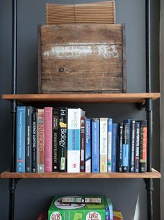 pipe/wood shelving- liking this more and more for my studio space.