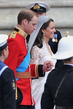 Their Royal Highnesses Prince William, Duke of Cambridge and Catherine, Duchess of Cambridge leave the Abbey before making the journey by carriage procession to Buckingham Palace following their marriage at Westminster Abbey on April 29, 2011 in London, England.