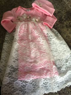 Baby Girl Take Home Gown/Newborn Girl Set by TheTinyTrendsetter on Etsy