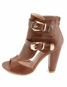 Belted Cut-Out Peep Toe Heels: Charlotte Russe