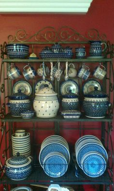 Polish pottery, I gave Charles a teapot of Polish Pottery and now the patterns grace their breakfast room. He loves the bell cups.