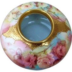 """Exquisite Bavaria Hand Painted """"Peach & Yellow Roses"""" 8"""" Floral from labazaar on Ruby Lane"""