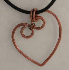 Rustic Copper Wire Heart Pendant
