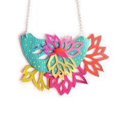 Mint Statement Necklace Leaf Flower Bib by BooandBooFactory, $72.00