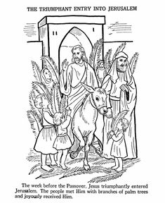 Easter Bible Coloring Pages - Jesus enters Jerusalem | HonkingDonkey