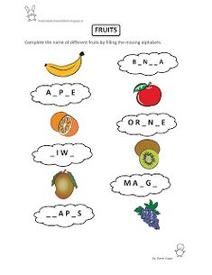 Free Fun Worksheets For Kids: Free Printable Fun Worksheet : EVS - Fruits