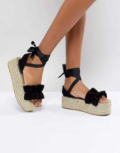 boohoo Ruffle Ankle Wrap Espadrille Flatform Sandals
