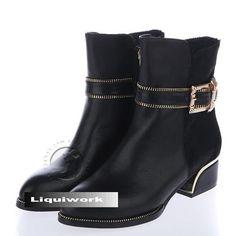 Size 8 9 10 Black Low Heel Warm Winter Dress Boots for Women ...