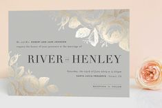 """""""Beloved"""" - Vintage, Floral & Botanical Foil-pressed Wedding Invitations in Mist by Design Lotus."""