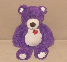 "First & Main Purple Cream Tender Teddy Bear Plush 12"" Toy Red Heart Black Stitch #FirstMain"