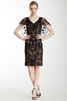 Sue Wong | Cap Sleeve Embellished Shift Dress | Nordstrom Rack