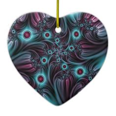 Into the Depth Blue Pink Abstract Fractal Art Ceramic Ornament