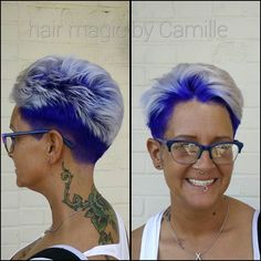 We amped up the contrast today on the Queen of Purple and kept those tips nice and white! Pure Joico Intensities Indigo on the roots. Rock it out @gratefulb ! #purplehair #indigohair #joicointensity #whiteblonde #whitetips #shorthair #pixiecut