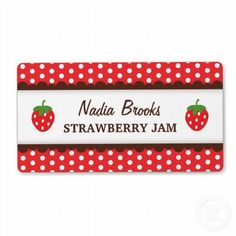 Strawberry chic. Red polka dots canning jar label (sheet of 8) 3.80