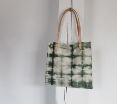 Hand Dyed Short Tote. Canvas Tote. Leather Straps. Hunter Green. Shibori Dyed. Studs. Emerald Green.