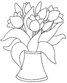 Tulips coloring page 27 Coloring Books, Coloring Pages, Tulip Colors, Doodles Zentangles, Arte Popular, Flower Template, Painting Tips, Embroidery Art, Art Tutorials