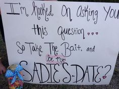 35 Creative Ways To Ask A Guy To Sadies Or Prom Creative Ways To Ask A Guy To Prom. I'm hooked on asking you this question. So take the bait, and be my Sadies date? Cute Hoco Proposals, Formal Proposals, Asking To Homecoming, Homecoming Proposal, Prom Posals, High School Dance, School Dances, Dance Proposal, Proposal Ideas