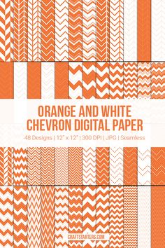Free set of orange and white chevron digital paper. The digital paper is 12 x 12 and in JPG format. Chevron Paper, Pokemon Party, Orange, Digital, Pattern, Free, Design, Model