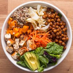 Protein-Packed Buddha Bowl Recipe by Tasty - Salads - Vegetarian Recipes Tasty Vegetarian, Vegan Dinner Recipes, Vegetarian Recipes Dinner, Vegan Dinners, Vegetarian Cooking, Meal Recipes, Salad Recipes, Bol Buddha, Buddha Bowl