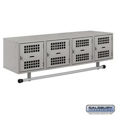 Wall Mounted Metal Locker - Box Style - 4 Vented Doors - 48 Inches Wide - 12 Inches High - 12 Inches