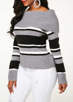 36b16955e0 Pullover Striped Off the Shoulder Sweater