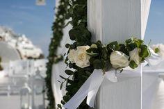Elegant destination wedding in Santorini, Greece. Dana Villas, Wedding Events, Wedding Day, Santorini Wedding, Wedding Ceremony Decorations, Tie The Knots, Elegant Wedding, Destination Wedding, Wreaths