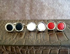 Men's Cufflinks Leather and Silver Gift for Him Under by Vitrine, $45.00