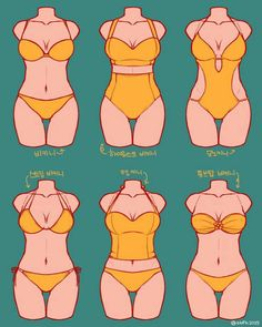 Women figures with bathing suit types