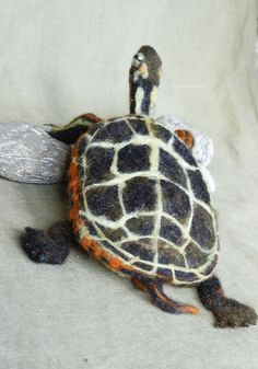 Ready to ship. A life size needle felted Painted Turtle. Made by my dad Geoff with hand dyed wool sculpted over a wire armature. Approximately 10
