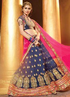 Blue & Pink Soft Net A-Line Lehenga Choli