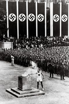 """unravel-history: """" In the 1936 Berlin Olympics, Carl Diem re-introduced the tradition of the Olympic flame. In Ancient Greece, a fire burned throughout the ancient Olympics. It commemorated the theft of fire from Zeus by Prometheus. 1936 Olympics, Berlin Olympics, Summer Olympics, Olympic Runners, Ancient Olympics, Leni Riefenstahl, Olympic Flame, Asian Games, Berlin"""