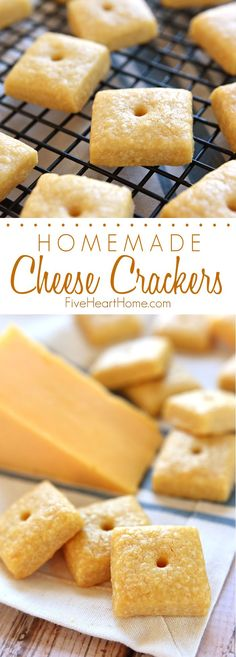 Homemade Cheese Crackers ~ tasty and all-natural, these savory crackers are not only kid approved, you won't believe how easy they are to make! Savory Snacks, Yummy Snacks, Snack Recipes, Cooking Recipes, Yummy Food, Healthy Snacks, Cheese Snacks, Cheese Crisps, Snacks Ideas