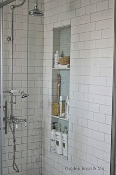 diy tall shower niche tutorial-www.goldenboysandme.com