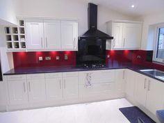 """Wine Red & Black"" Two tone Glass Kitchen Splashback by CreoGlass Design (London, UK). View more glass kitchen splashbacks and non-scratch worktops on www.creoglass.co.uk. #kitchen #kitchensplashbacks"