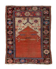 Konya prayer rug x 135 x 108 cm Turkey first half century Rugs On Carpet, Carpets, Prayer Rug, Bohemian Rug, Oriental, Prayers, Auction, Textiles, Austria