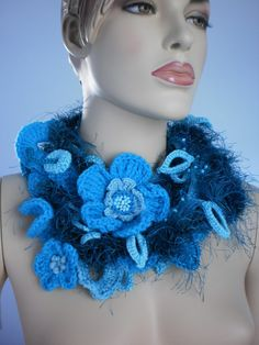 Long Crochet Scarf with Flower Pin / Lariat Scarf / par levintovich, $65.00