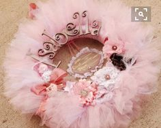The Gracynn II Wreath - Announcement Sign- Vintage Style Shabby Chic Tutu Tulle Wreath- Pink and Neutrals by pickypickypeacock on Etsy Tulle Wreath, Diy Wreath, Girl Baby Shower Decorations, Baby Decor, Modern Vintage Fashion, Vintage Style, Shabby Chic Kranz, Princess Wreath, Deco Mesh Wreaths