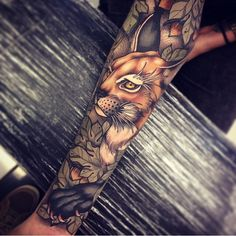 #tom_bartley #tattoo #animal #ink #floral #lynx