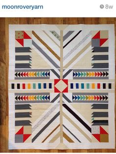 Idea for arrow quilt! Quilting Projects, Quilting Designs, Quilting Ideas, Arrow Quilt, Southwestern Quilts, Indian Quilt, Geometric Quilt, Quilt Modernen, Scrappy Quilts