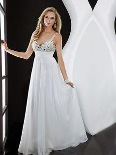 Flowy White Empire Long/Floor-length Empire Chiffon Evening Dress ED083C