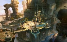 Fan Ming Concept Art and Illustration   oriental palace hidden in the cliffs
