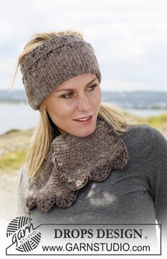 """Set comprising: Knitted DROPS ear warmer and scarf in """"Angora-Tweed"""" with crochet border in """"Eskimo"""". ~ DROPS Design"""