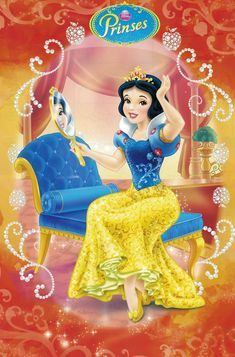 Snow White the lovely and beautiful princess with her mirror Walt Disney Princesses, Disney Princess Cartoons, Disney Princess Jasmine, Disney Princess Snow White, Snow White Disney, Disney Princess Drawings, Disney Princess Art, Disney Princess Pictures, Disney Princess Dresses