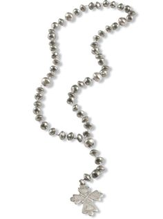 Silver Rosary Necklace  crowsnesttrading.com