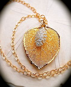 Gold Aspen Leaf and Silver Pine Cone Necklace