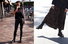 """You can't go wrong with a tight pair of leather pants paired with a cool vintage tee."""
