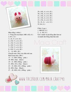 Made by Purpje©: Crochet Amigurumi Piglet Tsum Tsum Kawaii Crochet, Crochet Gratis, Crochet Chart, Love Crochet, Diy Crochet, Amigurumi Free, Crochet Doll Pattern, Crochet Patterns Amigurumi, Crochet Dolls