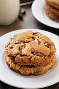 These paleo chocolate chip cookies are thick, chewy and have the perfect texture. With a vegan option {grain-free, gluten-free, dairy-free}
